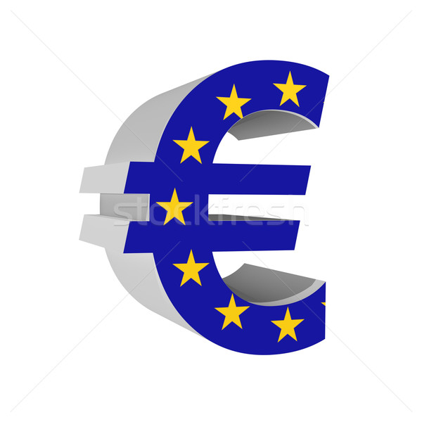 Euro symbol with Europion Union flag 3D isolated on white backgr Stock photo © pinkblue
