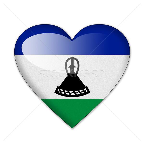 Lesotho banderą kształt serca odizolowany biały miłości Zdjęcia stock © pinkblue