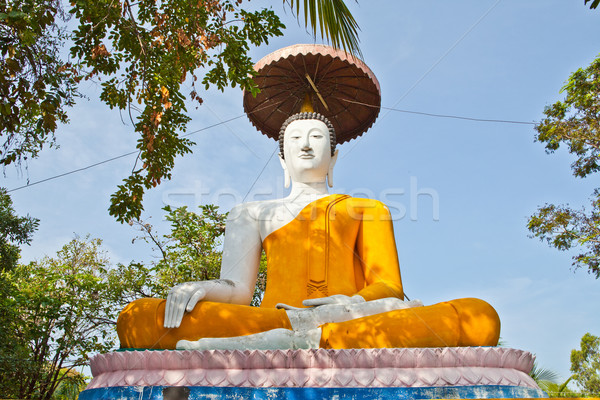 Buddha statue with umbrella under shadow of trees Stock photo © pinkblue