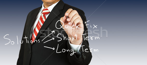 Zakenman tekening oplossing business man vergadering Stockfoto © pinkblue