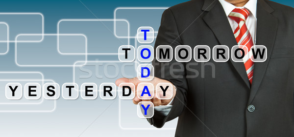 Businessman with wording Today, Yesterday, and Tomorrow Stock photo © pinkblue