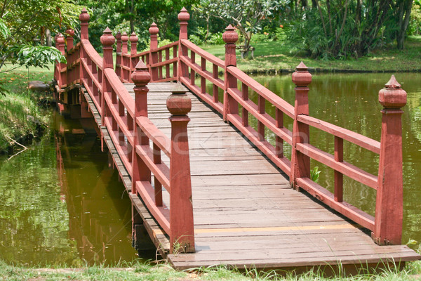 Fából készült híd tó víz tavasz fa Stock fotó © pinkblue