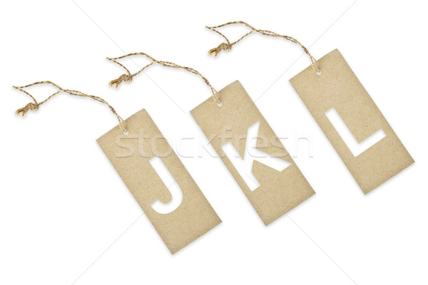 Brown paper tag with letter J K L cut Stock photo © pinkblue