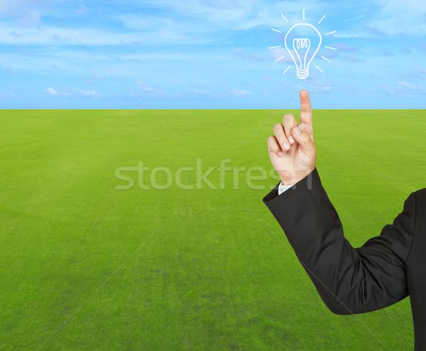 üzlet villanykörte zöld fű kék ég fény technológia Stock fotó © pinkblue