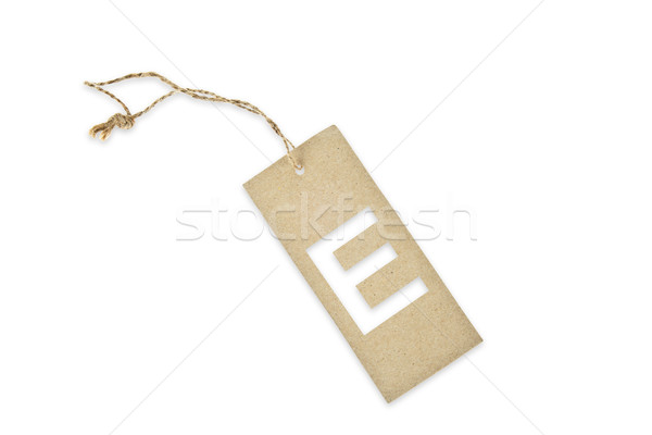 Brown paper tag with letter E cut Stock photo © pinkblue