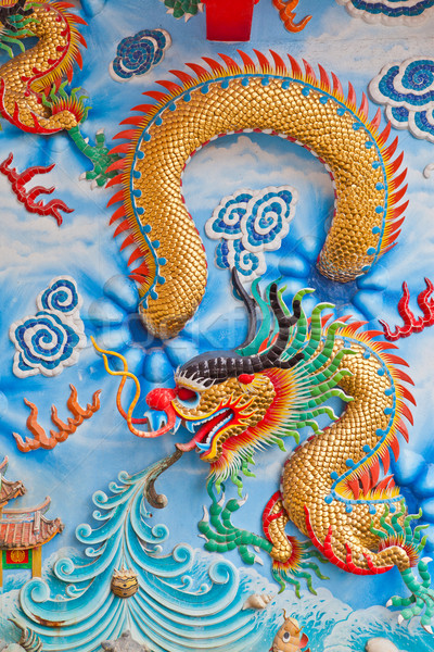dragon on a wall in a Chinese temple Stock photo © pinkblue