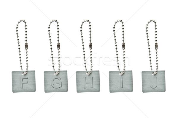 Ezüst fém kulcs címke levél otthon Stock fotó © pinkblue