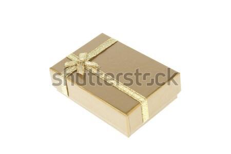 Stockfoto: Geschenkdoos · gouden · lint · geïsoleerd · witte · liefde
