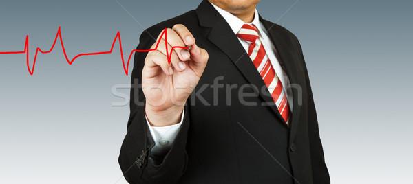 Biznesmen zwrócić puls pióro zdrowia muzyka Zdjęcia stock © pinkblue