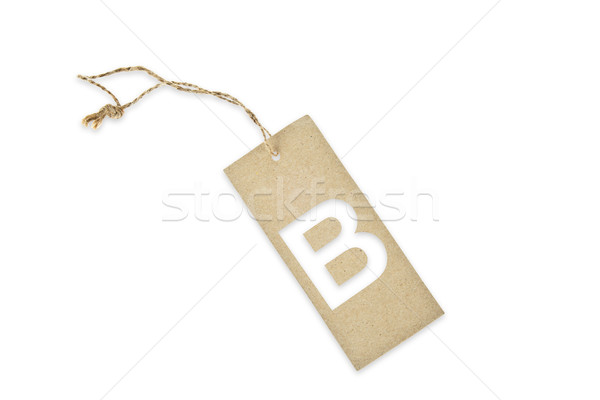 Brown paper tag with letter B cut Stock photo © pinkblue