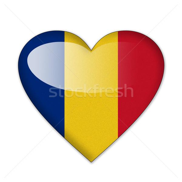 Rumunia banderą kształt serca odizolowany biały miłości Zdjęcia stock © pinkblue