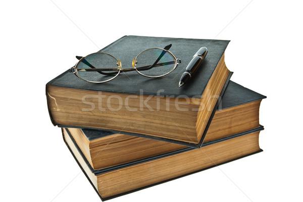Eski kitaplar göz gözlük kalem Stok fotoğraf © pinkblue