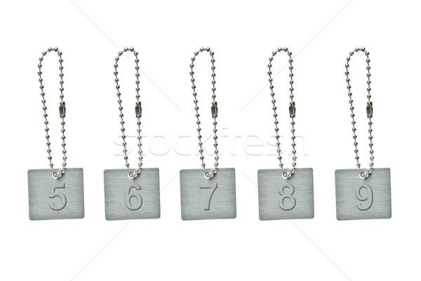 Ezüst fém kulcs címke szám terv Stock fotó © pinkblue