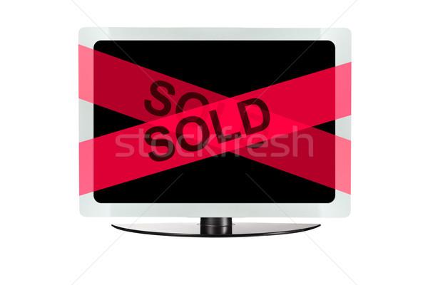 Stock fotó: Számítógép · piros · eladva · ki · szalag · üzlet