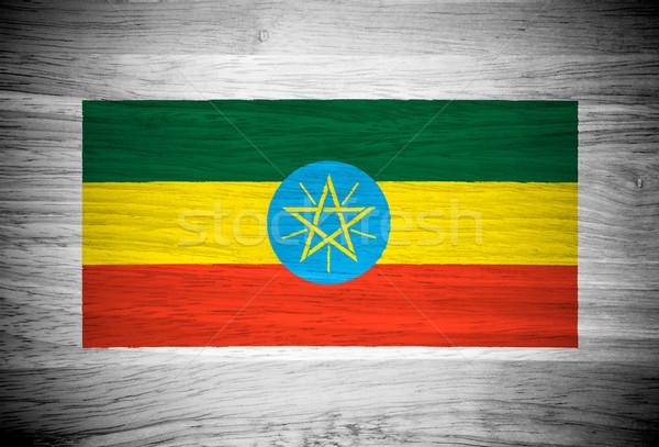 Stockfoto: Ethiopië · vlag · houtstructuur · muur · natuur · achtergrond