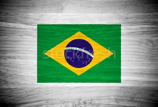 Brazylia banderą struktura drewna ściany charakter ramki Zdjęcia stock © pinkblue