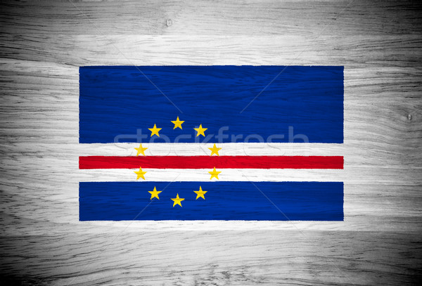 Cape Verde flag on wood texture Stock photo © pinkblue