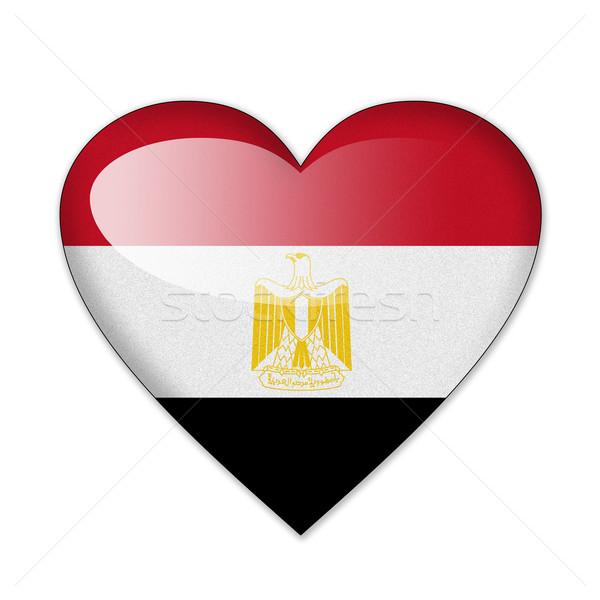 Egyiptom zászló szív alak izolált fehér szeretet Stock fotó © pinkblue