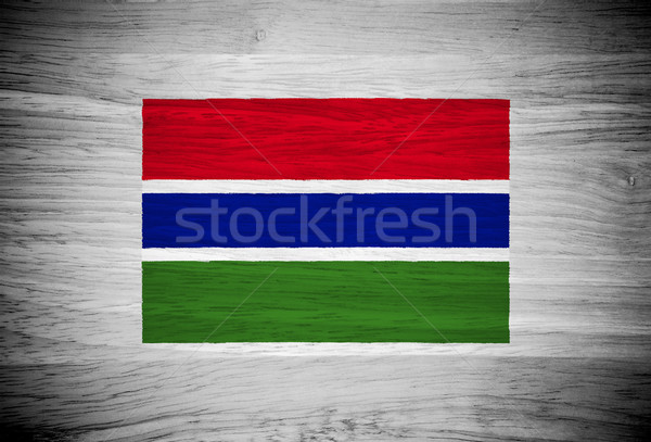Gambia flag on wood texture Stock photo © pinkblue