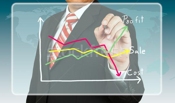 бизнесмен обратить диаграммы прибыль стоить бизнеса Сток-фото © pinkblue