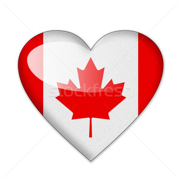 Canada vlag hartvorm geïsoleerd witte liefde Stockfoto © pinkblue