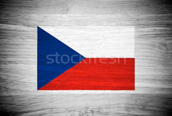 Csehország zászló fa textúra fal természet keret Stock fotó © pinkblue