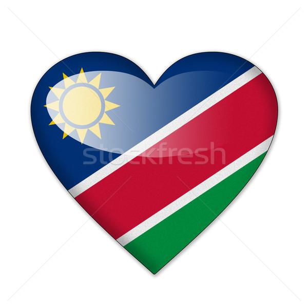 Namíbia zászló szív alak izolált fehér szeretet Stock fotó © pinkblue