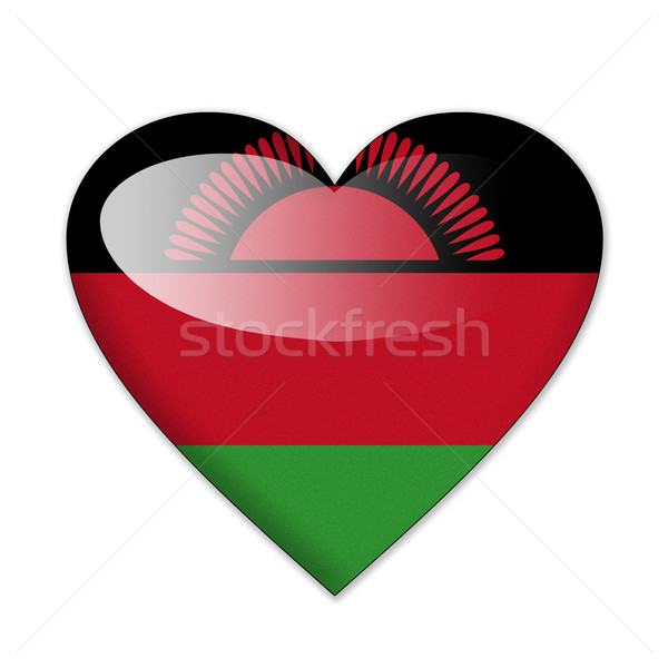Stockfoto: Malawi · vlag · hartvorm · geïsoleerd · witte · liefde