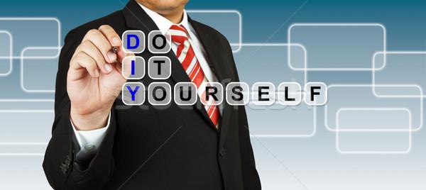 üzletember csináld magad üzlet ceruza oktatás kék Stock fotó © pinkblue