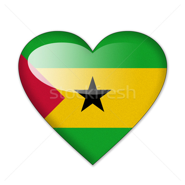 Sao Tome and Principe flag in heart shape isolated on white back Stock photo © pinkblue