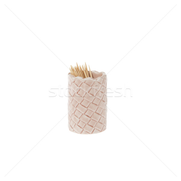 Small ceramic cup with toothpick isolated on white background Stock photo © pinkblue
