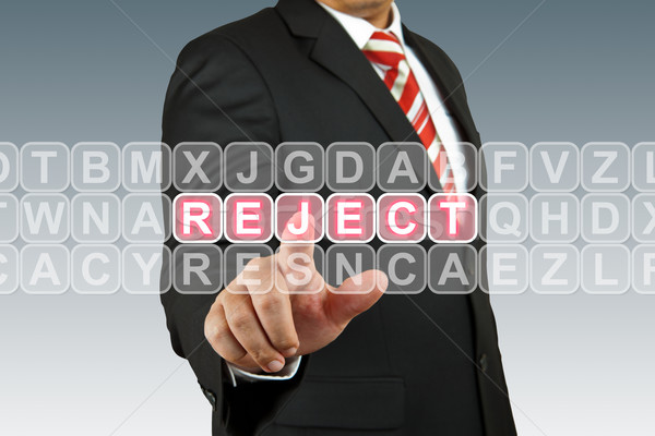 Biznesmen smutne kluczowych ekranu tech przycisk Zdjęcia stock © pinkblue