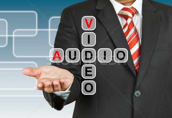 Zakenman hand tekening video audio business Stockfoto © pinkblue