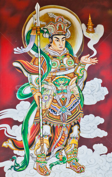 Chinese Warrior Deity Mural Stock photo © pinkblue