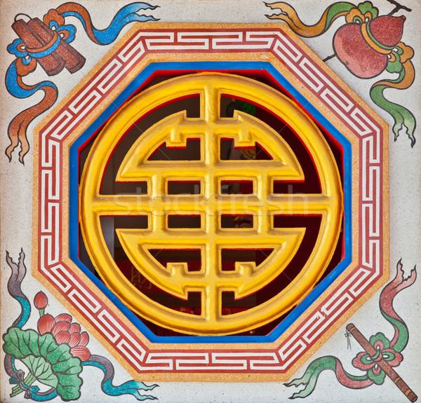 Stok fotoğraf: Imzalamak · duvar · Çin · tapınak · ağaç · ahşap