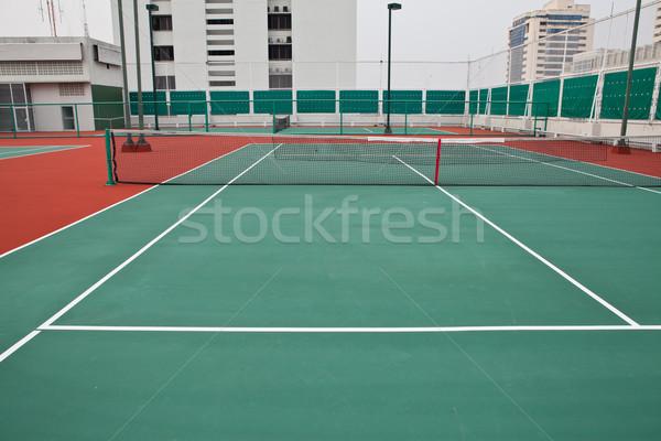 Teniszpálya tavasz háttér mező zöld szolgáltatás Stock fotó © pinkblue