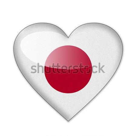 Japonia banderą kształt serca odizolowany biały miłości Zdjęcia stock © pinkblue