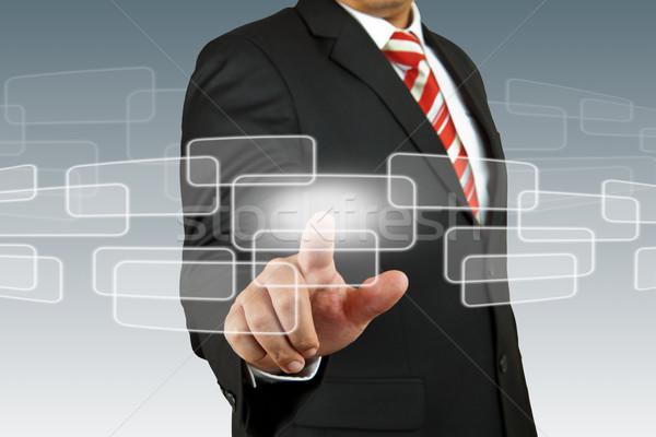 businessman hand pushing screen Stock photo © pinkblue
