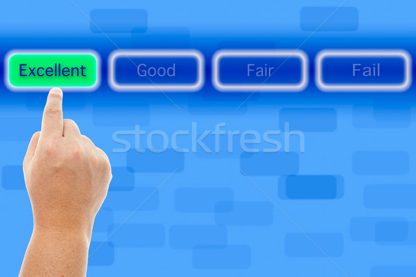 The hand push excellent button Stock photo © pinkblue