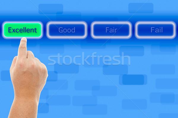 Mano ottimo pulsante felice finestra Foto d'archivio © pinkblue