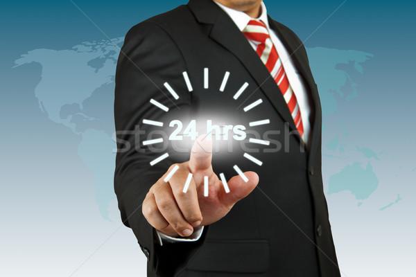 Сток-фото: бизнесмен · 24 · час · круга · бизнеса · человека