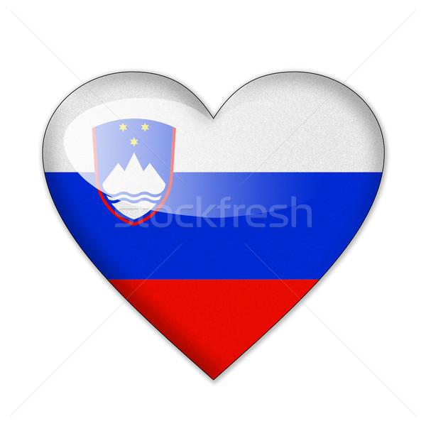 Szlovénia zászló szív alak izolált fehér szeretet Stock fotó © pinkblue