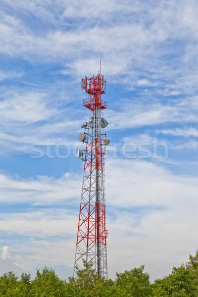 Telefone móvel comunicação antena torre televisão construção Foto stock © pinkblue