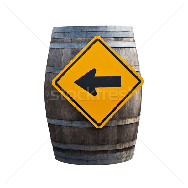 Big old wine barrel with traffic sign isolated on white backgrou Stock photo © pinkblue