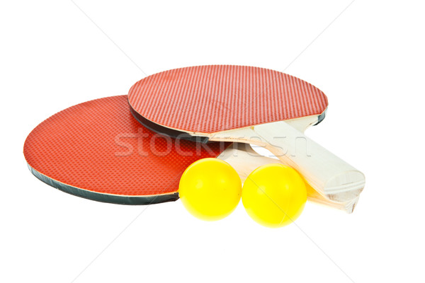 Table tennis racket and ball isolated on white background Stock photo © pinkblue