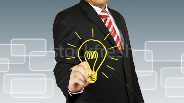 üzletember villanykörte technológia üveg lámpa erő Stock fotó © pinkblue
