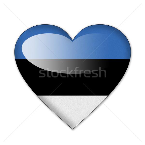 Эстония флаг формы сердца изолированный белый любви Сток-фото © pinkblue