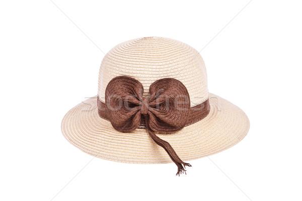коричневый соломенной шляпе лента изолированный белый моде Сток-фото © pinkblue