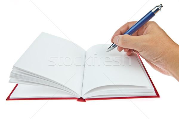 Könyv toll kéz üzlet papír felirat Stock fotó © pinkblue