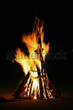 Stock photo: Flames of a campfire in the night
